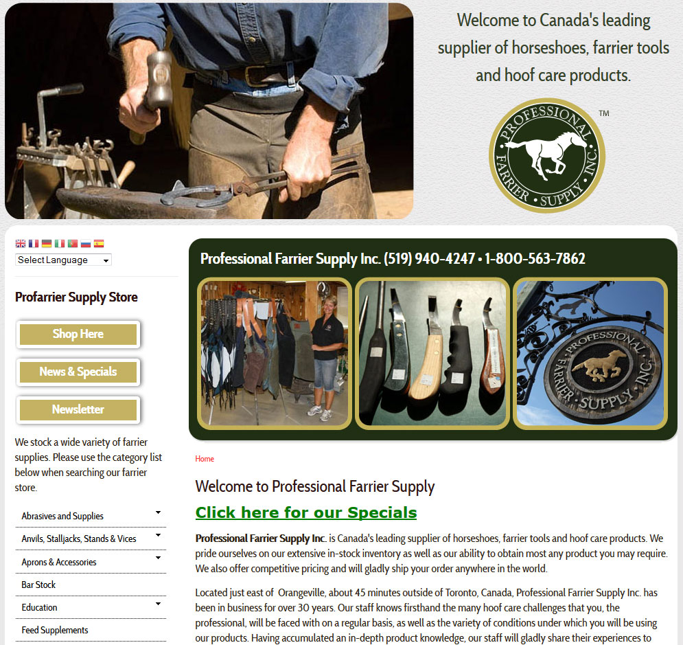 Canada's leading supplier of horseshoes